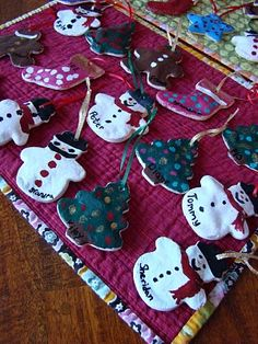 Homemade dough ornaments--Includes a link to the dough recipe.  A shiny protective coating of Mod Podge was given to each ornament after the paint had dried.  What a great idea!