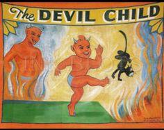vintage reproduction circus freakshow sideshow poster - The Devil Child