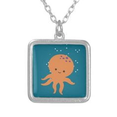 Cute Octopus Cartoon Silver Plated Necklace - jewelry jewellery unique special diy gift present