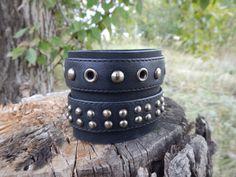 Leather black wide bracelet Rocker, Кожаный широкий браслет Рокер by RozaBracelets on Etsy