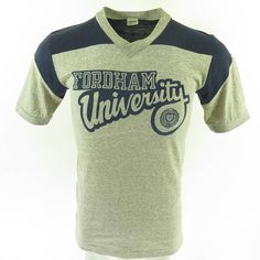 Vintage 70s Champion Blue Bar T-Shirt Mens M Fordham University 50/50 USA Made [H76P_0-6]