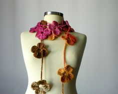 100% Handmade  Crochet lariat scarf - handmade neckwarmer autumn fall winter fashion women accessories and christmas gift idea. So beautiful colo...