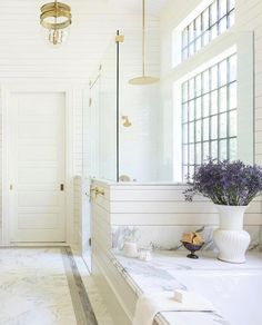 Bathroom reno on the brain? does it again with 8 dreamy ideas for creating the ideal master retreat 🛀 Check 'em out by tapping the… Bathroom Renos, White Bathroom, Master Bathroom, Shiplap Bathroom, Washroom, Bathroom Renovations, Bathroom Ideas, Interior Exterior, Bathroom Interior Design