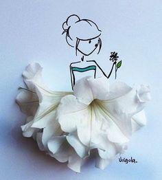 Daddy's Precious Princess — charmolypi: Art by Virgola Art Floral, Art And Illustration, Capa Do Face, Teen Art, Creative Artwork, Flower Fashion, Dress Fashion, Cute Art, Flower Art
