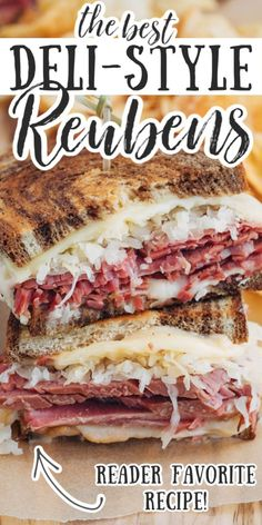 This Reuben Sandwich recipe layers tender corned beef with Swiss cheese sauerkraut and Russian dressing on griddled marble rye. A classic deli indulgence! Reuben Sandwich, Party Sandwiches, Corned Beef Sandwich, Meat Sandwich, Corned Beef Recipes, Soup And Sandwich, Recipe For Sandwich, Appetizer Sandwiches, Sandwich Ideas