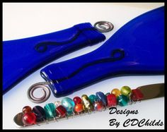 Flattened Eco Friendly Blue Wine Bottle Cheese Tray with BEADED CHEESE SPREADER (Upcycled,Recycled)