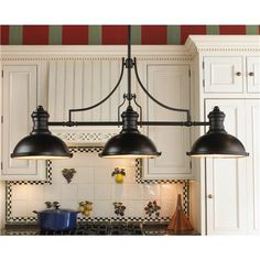 Period pendant island/ billiard chandelier 3 light : Shades Of Light $570.00 oiled bronze