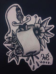 Ma babe -13 #handmade #dagger #flowers #oldschool #oldschooltattoo #traditional #traditionaltattoo