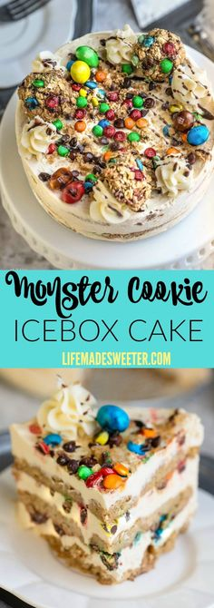 No Bake Monster Cookie Icebox Cake makes the perfect easy summer treat! Best of all, comes together with just 6 ingredients and 10 minutes of prep time!