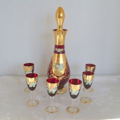 Handpainted Seyei Bar Set Victorian Glass by AngelasArtistic, $145.00