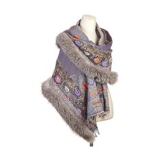 Iris Embroidered Wool Shawl with Fox Fur Trim ($299) ❤ liked on Polyvore featuring accessories, scarves, holiday scarves, embroidered shawl, fringe scarves, wool shawl and colorful scarves
