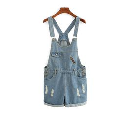 SheIn(sheinside) Rolled Hem Overall Denim Shorts ($22) ❤ liked on Polyvore featuring shorts, blue, jean shorts, denim bib overalls, denim short shorts, blue denim shorts and denim short overalls