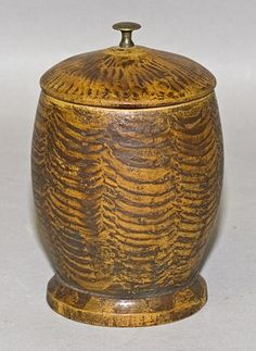 paint decorated treen container