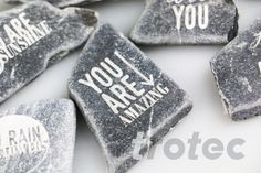 Laser engraved marble lucky charm - Free DIY instructions with recommended laser parameters for your Trotec laser. Marble Mosaic, Mosaic Tiles, Trotec Laser, Laser Machine, Marble Stones, Make A Gift, Lucky Charm, Laser Engraving, Amazing