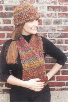 Rolled Brim Hat and Scarf Knitting Pattern  by SimplyCraftSupplies