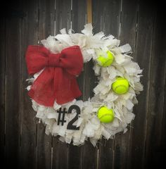 RagTie burlap softball wreath by HangThisDoorDecor on Etsy, $63.00
