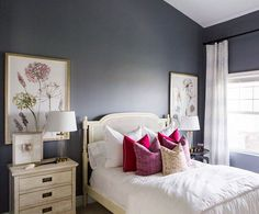 """We love how all the whites and creams really pop against this slate blue paint. Sherwin Williams storm cloud.  :: @kateosborne"""
