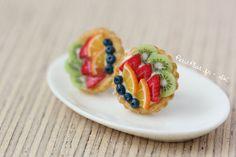 Frutta tortina/torta orecchini - gioielli di cibo in miniatura - frutta crostata insieme