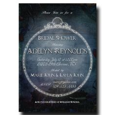 Blue Bridal Shower Invitation - Vintage Bridal Shower, Beach Bridal Shower, Mystical Bridal Shower Invitation