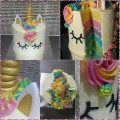 Unicorn rainbow cake so much frosting but so yum
