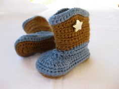Baby Boy Boots Blue & Brown - YOUR CHOICE size newborn - 9 months - photography prop - clothing