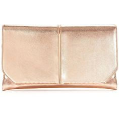 V By Very Metal Bar Detail Fold Top Clutch (36 CAD) ❤ liked on Polyvore featuring bags, handbags, clutches, special occasion clutches, fold over purse, pink metallic handbag, metallic clutches and fold over handbag