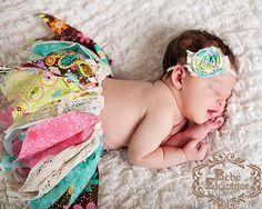 Rag and Lace Tutu with Matching Headband NEWBORN by BebeElegance