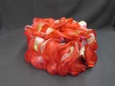 Vintage Red Orange Silk Flower Ladies Hat | Union Made Hat | Red Orange Rose Petals Pillbox Hat - Etagere Antiques, Vintage, Collectibles