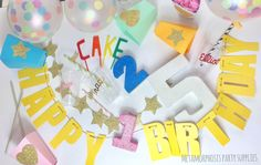 Make your party sparkle with these gorgeous wordy banners and shaped finishers . Choose from the following for your happy birthday banners - any...