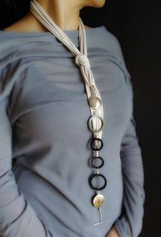 Handmade Long Necklace,, statement necklace, mother of pearls, buffalo horn. Wearable in many different ways. Info: dendesign@live.com