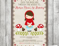 Little Red Riding Hood | Girls Printable Party Invitation | Birthday Invite -5x7 JPG