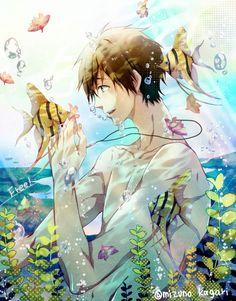 Iwatobi Swim Club Character: Makoto Tachibana ( 橘 真琴) □■ Got Anime, Manga Anime, Anime Art, Anime Boys, Marine Day, Free Makoto, Chibi, Swimming Anime, Hotarubi No Mori