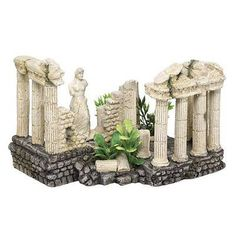 Aqua Ornaments 'Ancient Pillars' Aquarium Decoration with Plants 15 x 19 x 12.5