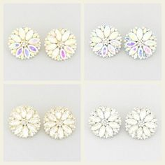A Spring Bouquet for your ears! Beautiful sparkling flowers in aurora borealis or clear crystal... gold or silver... CHOICES!  Clip Earrings. #ClipEarrings #DiscoverEaston #LaDeDa #CrystalEarrings #FlowerEarrings