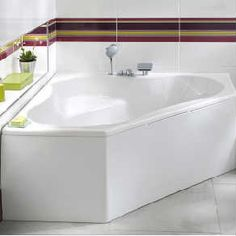 A comfortable corner bathtub. Scandinavian Bathroom, Modern Bathroom Design, Bathroom Designs, Corner Bathtub, Small Bathroom, House, Home Decor, Small Space, Beige Bathroom