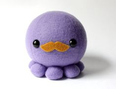 Purple Octopus Plush with Moustache by cheekandstitch on Etsy, $14.00
