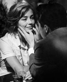 Emmanuelle Riva (1927-2017) & Okada Eiji 岡田英次 (1920-1995) on the set of Hiroshima, mon amour from French director Alain Resnais (1922-2014) - France/Japan - 1959