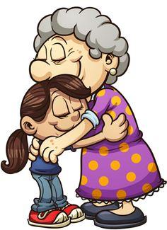personnages, illustration, individu, personne, gens Hug Cartoon, Cartoon People, Cartoon Drawings, Art Drawings, Art And Illustration, People Illustration, Cartoon Grandma, Grandparents Day, Art Plastique
