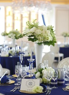 White and navy wedding with just a dash of green! Pretty table setting inspiration with fluffy white peonies as a centerpiece. Wedding Arrangements, Wedding Centerpieces, Wedding Decorations, Table Decorations, Centrepieces, Hotel Wedding, Blue Wedding, Wedding Colors, Wedding Table Flowers