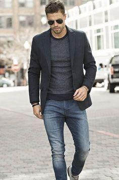 Blazer com camiseta: aprenda a mandar bem neste look - blazer com camiseta, moda masculina Blazer Outfits Men, Mens Fashion Blazer, Men Fashion, Fashion Ideas, Fashion Photo, Classy Fashion, Fashion Rings, Fashion Guide, Casual Outfits