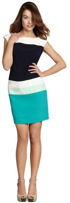colorblocked cap sleeve dress