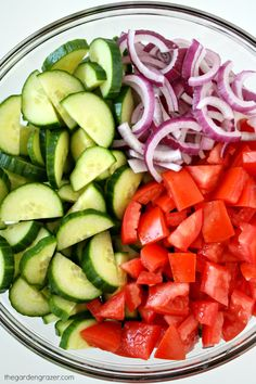 This salad has been a summer staple for years, with crisp cucumbers, juicy tomatoes, and a super easy tangy vinaigrette. It's a keeper b. Easy Cucumber Salad, Cucumber Salad Vinegar, Asparagus Salad, Cucumber Recipes, Onion Recipes, Salad Recipes, Tomato And Onion Salad, Cooking Recipes, Healthy Recipes