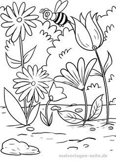 Malvorlage / Ausmalbild Blumen Und Biene  Kostenlose Malvorlagen /  Ausmalbilder   Free Coloring Pages For Kids | #malvorlagen #download #free  #kostenlos ...
