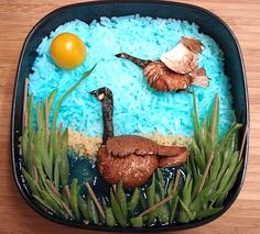 """Not only did I have to fit this week's """"Iron Bento"""" theme, but my mom also issued a challenge of her own.   For some reason, she wanted me to make a bento featuring a Canada goose.   Uh, okay."""