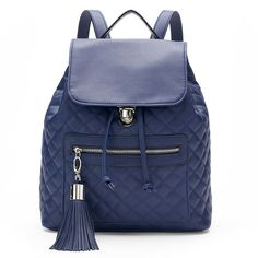 Candie's® Darcy Quilted Drawstring Backpack, Dark Blue