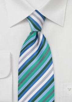 Green, blue, silver striped tie $14.90