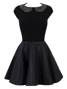 'Jordana' Black Leatherette Studded Skater Dress