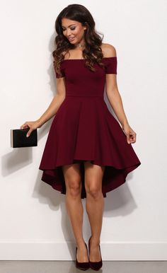 Off the shoulder dresses are all the rage this season! Show off your amazing fashion sense with this dress that features an elastic off the shoulder neckline, a short sleeve, a slim fitting bodice and a super cute skater skirt with a hi low hem.   eBay!