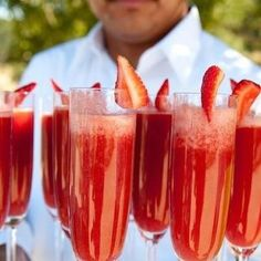 Strawberry Champagne Mimosas Recipe -  3-4 Strawberries 3 1/2 Oz. Champagne Or Sparkling Wine 3 1/2 Oz. Orange Juice.