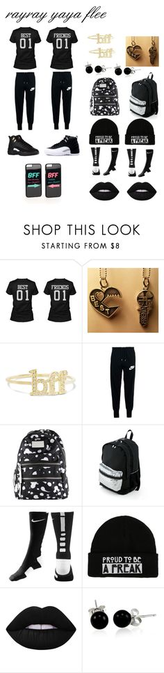 """""""me and yaya FLEE"""" by really-rayy ❤ liked on Polyvore featuring Jennifer Meyer Jewelry, NIKE, Marc by Marc Jacobs, Hot Topic, Lime Crime, Bling Jewelry and JFR"""
